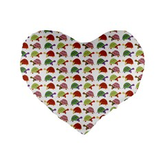 Turtle Pattern Standard 16  Premium Heart Shape Cushions by Valentinaart