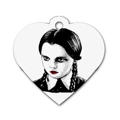 Wednesday Addams Dog Tag Heart (one Side) by Valentinaart