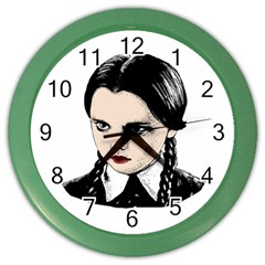 Wednesday Addams Color Wall Clocks by Valentinaart