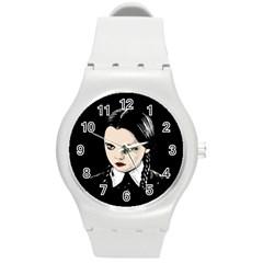Wednesday Addams Round Plastic Sport Watch (m) by Valentinaart