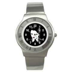 Wednesday Addams Stainless Steel Watch by Valentinaart