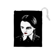 Wednesday Addams Drawstring Pouches (medium)  by Valentinaart