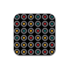 White Daisies Pattern Rubber Coaster (square)  by linceazul