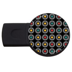 White Daisies Pattern Usb Flash Drive Round (4 Gb) by linceazul