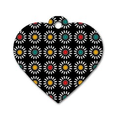 White Daisies Pattern Dog Tag Heart (two Sides) by linceazul