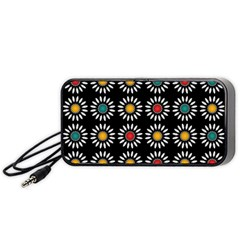 White Daisies Pattern Portable Speaker (black) by linceazul