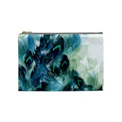 Flowers And Feathers Background Design Cosmetic Bag (medium)  by TastefulDesigns
