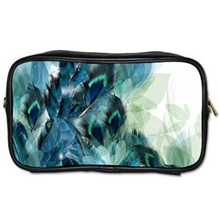 Flowers And Feathers Background Design Toiletries Bags 2 Side by TastefulDesigns