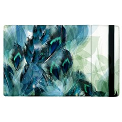Flowers And Feathers Background Design Apple Ipad 2 Flip Case by TastefulDesigns