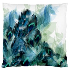 Flowers And Feathers Background Design Large Flano Cushion Case (one Side) by TastefulDesigns