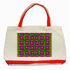 Bohemian Big Flower Of The Power In Rainbows Classic Tote Bag (red) by pepitasart
