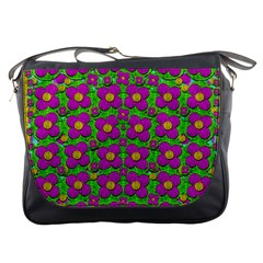 Bohemian Big Flower Of The Power In Rainbows Messenger Bags by pepitasart