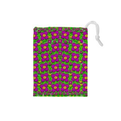 Bohemian Big Flower Of The Power In Rainbows Drawstring Pouches (small)  by pepitasart