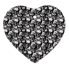 Skulls Pattern  Ornament (heart) by Valentinaart