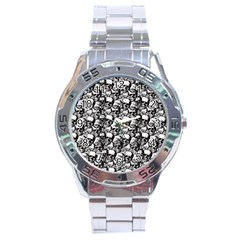 Skulls Pattern  Stainless Steel Analogue Watch by Valentinaart