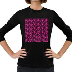 Skulls Pattern  Women s Long Sleeve Dark T Shirts by Valentinaart