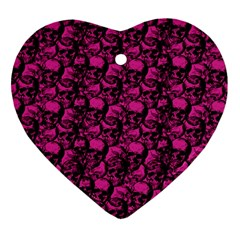Skulls Pattern  Heart Ornament (two Sides) by Valentinaart