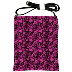 Skulls Pattern  Shoulder Sling Bags by Valentinaart