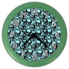 Skulls Pattern  Color Wall Clocks by Valentinaart