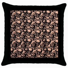 Skulls Pattern  Throw Pillow Case (black) by Valentinaart