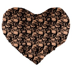 Skulls Pattern  Large 19  Premium Flano Heart Shape Cushions by Valentinaart