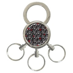 Skulls And Roses Pattern  3 Ring Key Chains