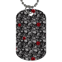 Skulls And Roses Pattern  Dog Tag (two Sides) by Valentinaart