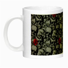 Skulls And Roses Pattern  Night Luminous Mugs by Valentinaart