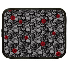 Skulls And Roses Pattern  Netbook Case (xxl)  by Valentinaart
