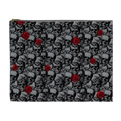 Skulls And Roses Pattern  Cosmetic Bag (xl) by Valentinaart
