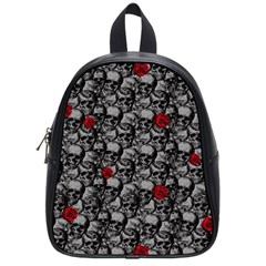 Skulls And Roses Pattern  School Bags (small)  by Valentinaart