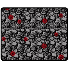 Skulls And Roses Pattern  Fleece Blanket (medium)  by Valentinaart