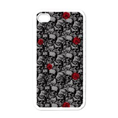 Skulls And Roses Pattern  Apple Iphone 4 Case (white) by Valentinaart