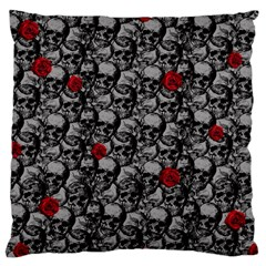 Skulls And Roses Pattern  Large Cushion Case (one Side) by Valentinaart