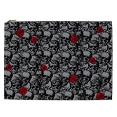 Skulls And Roses Pattern  Cosmetic Bag (xxl)  by Valentinaart