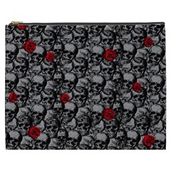 Skulls And Roses Pattern  Cosmetic Bag (xxxl)  by Valentinaart