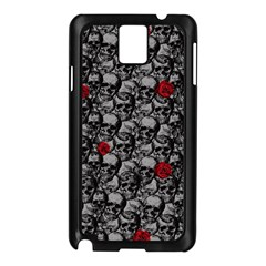 Skulls And Roses Pattern  Samsung Galaxy Note 3 N9005 Case (black) by Valentinaart