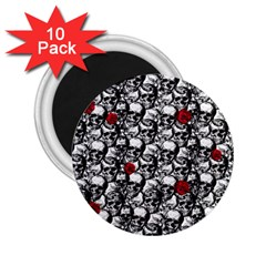 Skulls And Roses Pattern  2 25  Magnets (10 Pack)