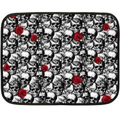 Skulls And Roses Pattern  Double Sided Fleece Blanket (mini)  by Valentinaart