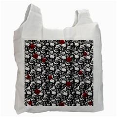 Skulls And Roses Pattern  Recycle Bag (one Side) by Valentinaart