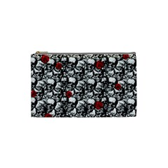 Skulls And Roses Pattern  Cosmetic Bag (small)  by Valentinaart