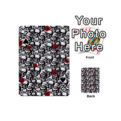 Skulls And Roses Pattern  Playing Cards 54 (mini)  by Valentinaart
