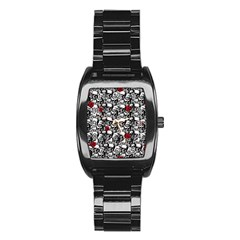 Skulls And Roses Pattern  Stainless Steel Barrel Watch by Valentinaart