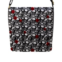 Skulls And Roses Pattern  Flap Messenger Bag (l)  by Valentinaart