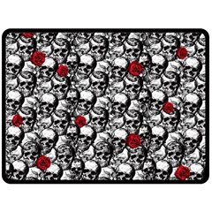 Skulls And Roses Pattern  Double Sided Fleece Blanket (large)  by Valentinaart