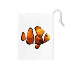 Clown Fish Drawstring Pouches (medium)  by Valentinaart