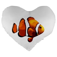 Clown Fish Large 19  Premium Flano Heart Shape Cushions by Valentinaart