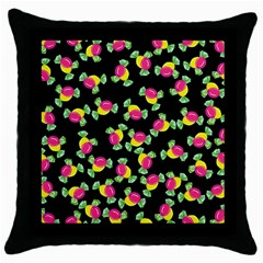 Candy Pattern Throw Pillow Case (black) by Valentinaart