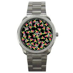 Candy Pattern Sport Metal Watch by Valentinaart
