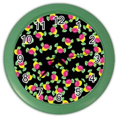 Candy Pattern Color Wall Clocks by Valentinaart